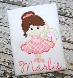 Ballerina Girl Applique Design