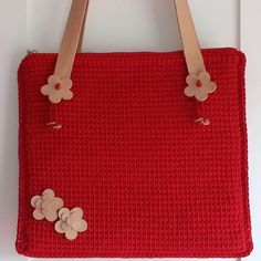 ornate flower design red leather handle bag
