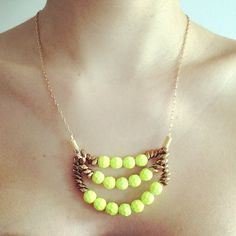 DIY Neon Yellow Pearl Necklace