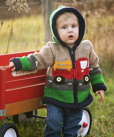"""Diy Crafts - Love this Eric Tan Tractor Hoodie - Toddler & Boys on zulily! zulilyfinds """"Little Cotton Dress Eric Tan Tractor Hoodie - Boys"""", Knitting Patterns Boys, Baby Boy Knitting Patterns, Baby Cardigan Knitting Pattern, Knitting For Kids, Baby Girl Sweaters, Boys Sweaters, Knitted Jackets Women, Baby Pullover, Boys Hoodies"""
