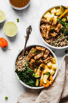 This Jerk Tofu Vegetable and Rice Bowl is inspired by bold Jamaican flavors and makes a delicious plant-based dinner. These bowls feature jerk tofu, whole grains, and juicy pineapple. Recipes to try Vegan Recipes Videos, Vegan Dinner Recipes, Tofu Recipes, Grilling Recipes, Lunch Recipes, Real Food Recipes, Healthy Recipes, Meatless Recipes, Vegan Meals