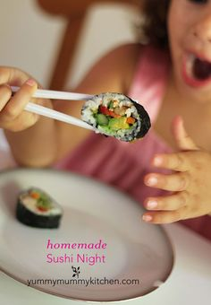 Yummy Mummy Kitchen: How to Make Sushi (Easy Vegan Sushi) Sushi Recipes, Real Food Recipes, Vegan Recipes, Cooking Recipes, Yummy Food, Vegetarian Cooking, Healthy Cooking, Healthy Snacks, Healthy Eating
