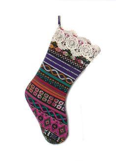 Judith March Aztec Jacquard Christmas Stocking (Black Embroidered) – DejaVu