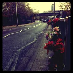 Flowers for the cyclist.