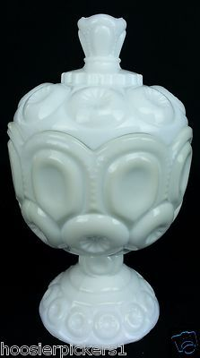 Vintage milk glass LE Smith Moon and Star stars white Covered candy compote