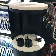Based upon the fact that a circle offers maximum area with minimum perimeter, this Circular Makeup Station Store Amenity packs a lot into a small footprint. Makeup Stand, Retail Merchandising, Sephora, Footprint, Store, Mirrors, Ideas, Retail, Retail Boutique