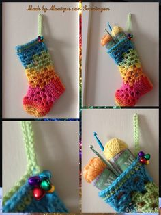 Gehaakte kerstsok, regenboog, crochet, christmas stocking, rainbow made by Monique van Groningen