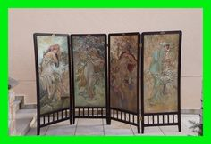 Painted Art nouveau room divider / dressing screen, dated 1904 (# 2666)