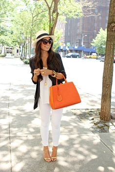 We love pairing our summer neutrals with a pop of color! .Don't forget your fedora & oversized sunnies!