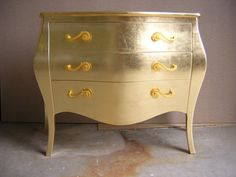 Chest of drawers in gold leaf by Lartenelmobile on Etsy, €1000.00 - I've always loved gold, and now its in fashion at this moment -so I'm going to buy some gold leaf and see what I can do around the house with my old furniture.....