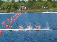 RSA U23 K4 Sprint Kayak team warming up prerace. Niagara, Canada www.canoeniagara.ca