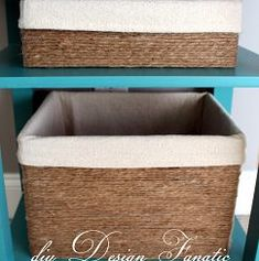 "Make ""baskets"" out of cardboard boxes. Brush glue on and cover with twine or burlap (twine shown in this photo). Brilliant idea! Much easier to get a box to be just the right size if it's just cardboard."