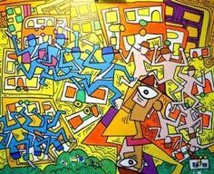 Schilder= Gabi Jimenez, ik denk dat je hier ziet dat de politie (een soort van SS) mensen onder dwang houdt.