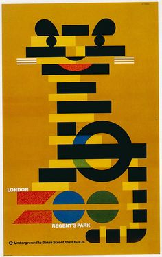 London Underground poster for London Zoo -vintage design - poster design