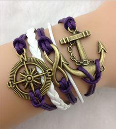 DIY Purple Bronze Set Bracelet,DIY leather bracelet sets shop at Costwe.com