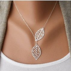 ❤️ Silver Leaf Necklace ❤️ Beautiful Silver Leaf Necklace  Jewelry Necklaces