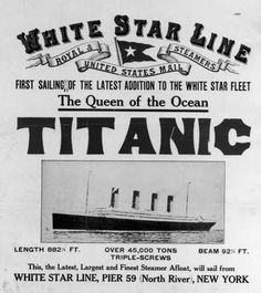 White Star Line advertisement for the Titanic.