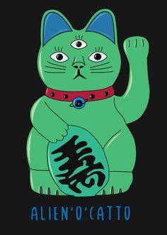 Cat Statue, Maneki Neko, Outer Space, Top Artists, Kawaii Anime, Tee Shirts, Sticker, Graphic Design, Comics
