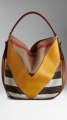 Medium Leather Chevron Canvas Check Hobo Bag