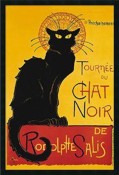 "0-004680>25x37"""" Theophile Alexandre Steinlen Tournee du Chat Noir Yellow Framed Print"
