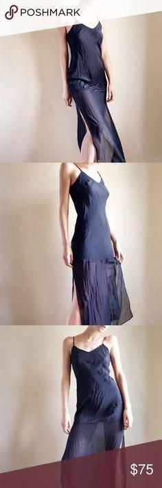 cc3a78bbdef01 Silk maxi slip dress from Gold Hawk Black two-texture silk maxi slip dress.  Chiffon ...
