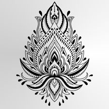 LUTUS MANDALA Reusable Stencil A3 A4 A5 BOHEMNIAN Modern Wall Art DIY 'Lotus'