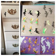 DIY craft! Tinker Bell fairy stickers, transparent sheet, puffy paint- trace design, dry over night, peel and stick anywhere. Easy! I did glow in the dark, glitter, & all black tinkerbell outlines. I stuck some on my dresser. Looks like the shadow of a fairy walking across the drawer. :) Glow looks awesome at night- fun to stick in random places (back of a chair, window sill, light switch plate, closet door knob) super cute for girls bedroom or dorm. Endless possibilities with puffy paint…