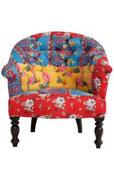 Multi Cotton Quilt Roundback Arm Chair