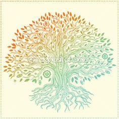 árbol de la vida dibujada a mano hermosa vintage — Ilustración de stock #25971753