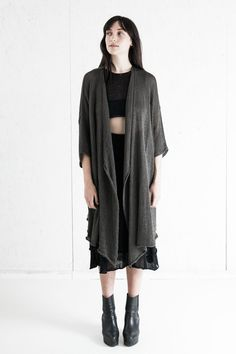 Heavily draped drop sleeve kimono style robe/jacket. Perfect throw-on piece to layer over any look for a little extra warmth, drama, or as a shield from the sun. One size. Intended to have a relaxed, oversized fit - OS fits most, but we will happily work to make a customized piece for you i