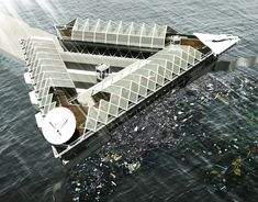 Image 1 of 5 from gallery of This Floating Platform Could Filter the Plastic from our Polluted Oceans. Photograph by Cristian Ehrmantraut Architecture Student, Interior Architecture, Interior Design, Structured Water, Floating Platform, Water Pollution, Floating House, Sun Lounger, Filters