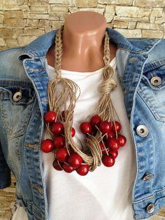 #crochet #linen #wood #necklace #bohemian #etsy