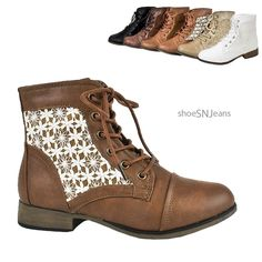 Crochet Lace Up Short Combat Boots - Cute for spring, can be worn with pants, skirts, casual dress.
