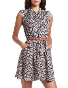 Ditsy Floral Challis Shirt Dress: Charlotte Russe