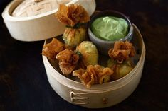 Green Chilli Chicken Wontons with Avocado and Lime Dip