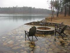 Lakeside patio & firepit (side of dock)