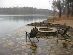 Lakeside patio & firepit (side of dock)