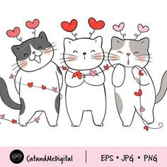 Cat Valentine, Valentines Day Clipart, Cat Clipart, Vector Clipart, Clip Art, Kawaii Cat, How To Make Tshirts, Buy A Cat, Funny Love