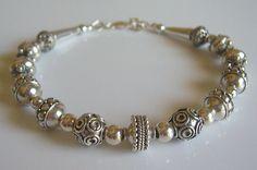Bali bead sterling silver bracelet by starrydreams on Etsy, $100.00