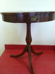 Antique Mersman Pedestal Wood Round Side Telephone Table With Drawer Claw Feet