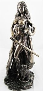 "As fierce as she is beautiful this is an amazing cold-cast bronze statue of Freya. 11"" tall."