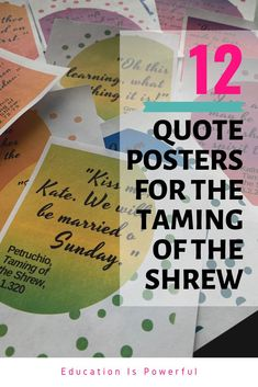 Decorate the walls of your classroom with these bright and colorful posters with 12 key quotes from The Taming of the Shrew by William Shakespeare. Mo Quote, High School Subjects, Key Quotes, Modern Quotes, New Years Traditions, Middle School English, Quote Posters, Lesson Plans, William Shakespeare