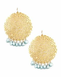 Pearl & Gold Plate Filigree Earrings by Devon Leigh at Neiman Marcus.