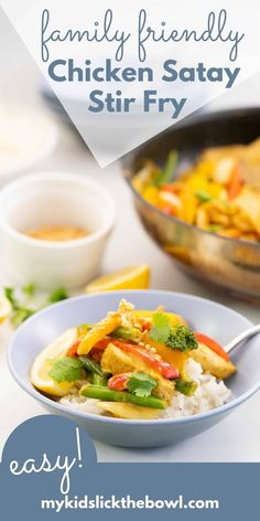 This peanut satay chicken stir fry is such an easy and delicious recipe that your entire family will love. Get this delicious, easy recipe here at My Kids Lick The Bowl #sataychicken #chickenstrifry Healthy Family Dinners, Healthy Meals For Kids, Family Meals, Kids Meals, Easy Meals, Healthy Recipes, Chicken Satay, Greens Recipe, Easy Chicken Recipes