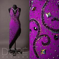 Purple Halter Neck Latin w/ Swirl Design in AB & Jet Stones & Asymmetric Skirt w/ Black Fringe & Volcano Beaded Fringe