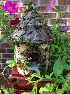 Lovely little handmade fairy house made from gathered bark and moss. Create Yourself, Finding Yourself, House Made, Unique Gifts, Fairy, Outdoor Decor, Handmade, Etsy, Hand Made