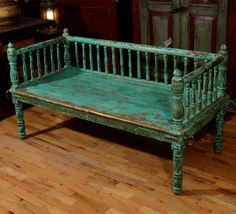 Repurposed baby bed.