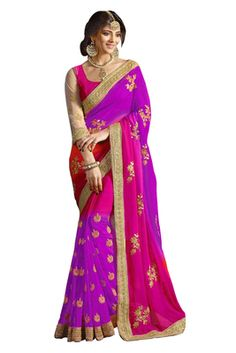 Georgette Violet Colored Essential Elements Designs Saree With Blouse Sarees on Shimply.com