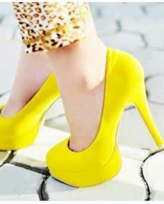 Yellow High Heels Pumps, oh Lord I love these! Yellow High Heels, Yellow Pumps, Cute High Heels, High Heels Stilettos, Shoes Heels, Neon Pumps, Stiletto Heels, Crazy Shoes, Me Too Shoes