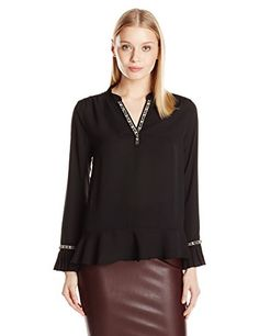 NY Collection Womens Long Sleeve YNeck Blouse with Pleated Ruffle Hem and Embellished Neck Black Medium *** Want additional info? Click on the image.